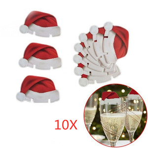 10pcs lot Christmas Decorations Hats For Champagne Glass Cup Wooden Red Wine Glass Card Santa Claus Xmas Elk Decoration DHL Free NWA1439