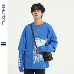 MTL men's clothing | Blue style printed sweater trendy brand ins fake two-piece stitching long-sleeved all-match jacket for men PBDDJUAN