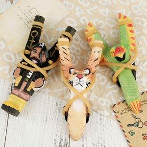 اليد منحوت الحيوان المقاليع الحيوان 3D الوجه لعبة أطفال كلاسيكي اللعب في الهواء الطلق هدية رسمت باليد خشبي المقلاع KKA8080