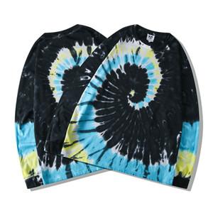 2020 Ins caliente unisex de Hip Hop Estrellas Negro Tie Dye con capucha monopatín unisex suéter de algodón con capucha Hombres Mujeres sudadera con capucha
