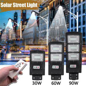플라자 가든 원격 방수 LED 태양 광 가로등 30W 60W 90W 태양 주도 야외 조명 레이더 PIR 모션 센서 벽 타이밍 램프