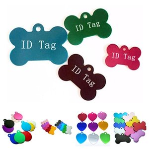 new 3 style Dog Tag Metal Blank Pet Dog ID Card Tags Aluminum Alloy pet Tags No Chain Mixed colors Dog Supplies T2I51472
