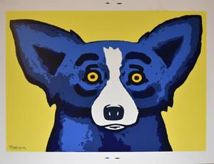 George Rodrigue Blue Dog Head Over Heels Home Decor dipinto a mano HD Stampa Olio su tela di arte della parete della tela di canapa Immagini 200913