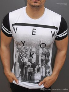 Sleeved Tops O-neck Printed Tops Tees NEW YORK Letters Mens T shirts Summer Fashion Short