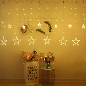 Noel Dekorasyon LED String Işık Pentagram Yıldız Perde 2.5M 110V / 220V Düğün 2020New Yıl Partisi Noel Aydınlatma Ev Dekorasyonu