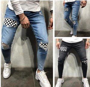 Pantalones Street Skateboard Pencil Pants Mens Pencil Jeans Knee Broken Hole Spring Autumn Designer