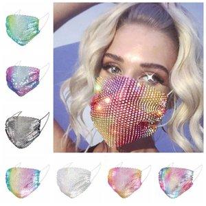 Glitter Bling Bling Pullarda Yüz toz geçirmez Yıkanabilir Windproof Yeniden kullanılabilir Yüz Elastik kulak askısı Nefes Gece Kulübü DHC208 Maske