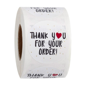 500pcs Round Thank You For Your Order Sticker Heart Thanks For Shopping Small Shop Local Handmade Sticker White Labels Sticker Gift Wrap