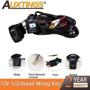 Auxting 1 / 2 / 4lead 와이어 링 하네스 릴레이 12V 자동차 LED 라이트 바 와이어 베틀 케이블 키트 퓨즈 자동 운전 오프로드를위한지도 한 일 램프