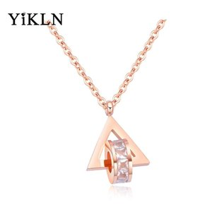 YiKLN New Stainless Steel CZ Crystal Choker Necklaces For Women Trendy Style Rose Gold Triangle Charm Pendant Necklace YN17074