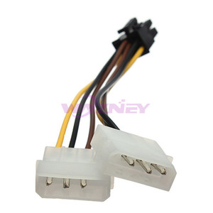 500pcs lot 2 IDE Dual 4 Pin Molex Male to 6 Female PCI-E Y Power Cable Adapter Connector For Video Card