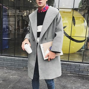 Corea del largo invierno de lana capa ocasional de la manera delgada de los hombres con capucha de lana capa de los hombres de Calle floja de la chaqueta para hombre abrigo