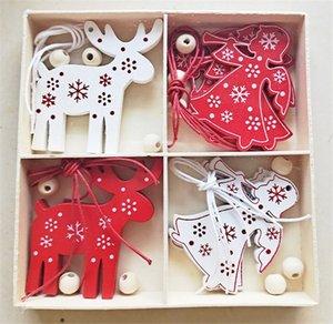 Navidad ornamentos de navidad muñeco de nieve copo de nieve ciervos casa campanas caja de madera de decoración, Love adornos