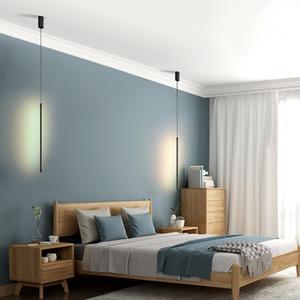 Nordic sencilla LED de larga colgantes Línea araña de vida sofá de fondo de la pared luz del dormitorio de noche Lámpara de pie