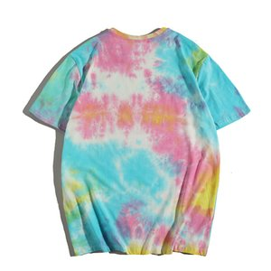 ZT56 summer new T-shirt men's high street round neck short sleeve loose fashion brand style T-shirt top men's tie-dyed T-shirt CNHQ17U8