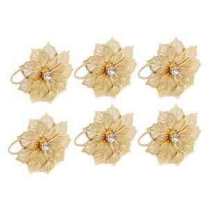 6pcs Home Table Metal Party Towel Hotel Holder Serviette Banquet Mesh West Dinner Crystal Flower Napkin Rings Wedding Decor