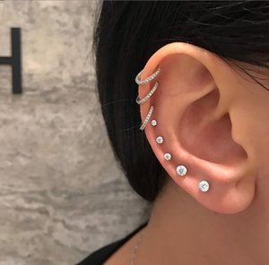 Vintage Silver Geometric Circle Hoop Earrings 8pcs set Round CZ Zircon Stud Earring Set Simple Wedding Earring