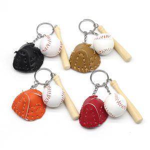 Mini Three-piece Baseball Glove Wooden Bat Keychain Sports Car Chain Key Ring Gift for Man Women Keyrings Bag Accessories