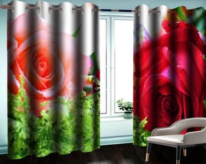 Modern Bedroom Window Curtain Summer Curtain Charming Rose Flower Interior Decoration Romantic Floral Blackout Curtains