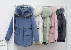 versão coreana do forro de pele nova imitação de guaxinim gola de pele de coelho inverno curto solta casaco de superação