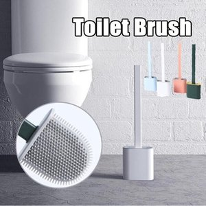 Silicone Toilet Brush Wall Save Space Brush Mounted Flat Head Flexible Soft Brushes With Quick Drying Holder set Bathroom Accessory DHE1419