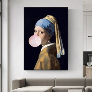 The Girl With A Pearl Earring Famous Art Canvas Paintings Reproductions Girl With Balloon Canvas Art Pictures Wall Decoration
