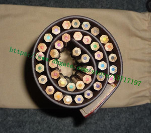 Üst Sınıf Kahverengi Mono Çiçek Harf Kanvas Gerçek deri 40 Renk Kalem Kutusu Rulo Dahil Boyama Kalemler GI0374 Hayır kutusunu Kaplı