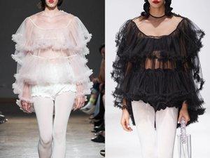 Paris fashion show latest fairy series mesh lace design see-through sexy pullover shirt