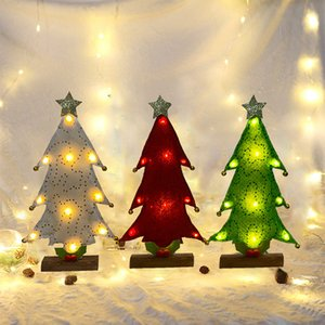 LED 크리스마스 트리 데스크 장식 레드 그린 화이트 골드 장식 조각 천 LED 배터리 홈 오피스 데스크 장식