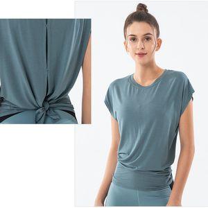2020 Ins Frauen Sport Tops Open Back Quick Dry lose T-shirts Verdrehte Sweatshirt Tunika Yoga Blusen