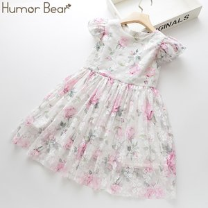 Humor Bear Summer Brand New Girls Dress Flowers Lace Silk Dress Fashion Girls Round Neck Flying Sleeve Dress Baby Kids Clothing