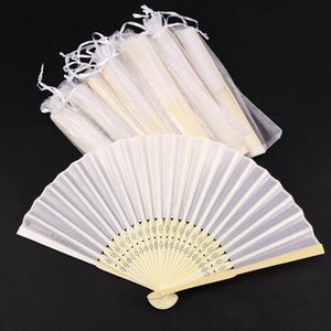 50PCS Personalized Printing Foldable Hand Silk Fan Fold Vintage Fans With Organza Gift Bag Customized Wedding Party Favors