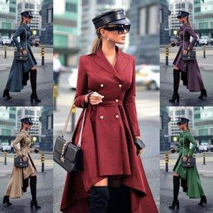 High Low Women Plus Size Dresses Burgundy Khaki Solid Double Breasted Suit Jacket Ladies Blazer Dress Robes De Cocktail Longue