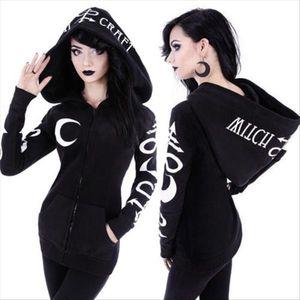 Women Witchcraft Long Sleeve Gothic Hoodie Altar Sweatshirt 2020 New Autumn Winter Letter Zipper Hooded Coat Punk Tops S 2XL