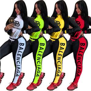 Mujeres chándal de dos piezas Trajes de deporte de manga larga para trotar Deportes polainas de la chaqueta de los juegos de Clubwear más el tamaño de las mujeres Ropa