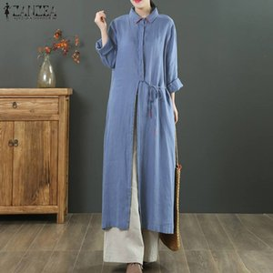 2020 otoño camisas sólidos Vestidos ZANZEA Encaje blusa ocasional mujeres solapa de manga larga Tops Túnica Blusas Mujer Kaftan 5XL