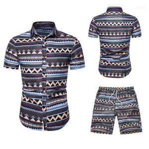 Summer Tracksuits Casual Lapel Neck Short Sleeve Tops Short Pants Fashion Hawaii Style Suits Mens Designer Print
