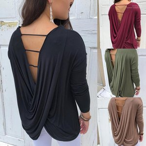 Women Tshirts Autumn Women Designer Tshirts Fashion Solid Color Backless Long Sleeve V Neck Tops Autumn Casual