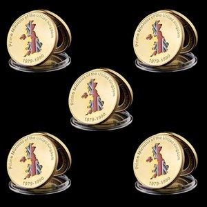 5pcs Gold überzogener Sammlung Münze britischen Premierminister Margaret Thatchers Iron Lady Gold Collection Münze W / Kapsel