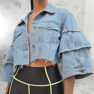 Jacket Fashion Shorts Streetwear Designer Burrs Womens Jeans Jacket Fashion Flare Sleeve Femmes Crop Top Denim