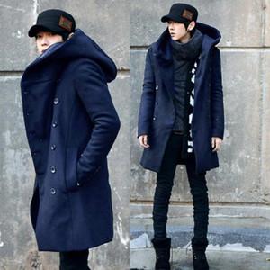 ZEESHANT Mode Günstige Herren Pea Coat mit Kapuze Zweireihig Lange Cotton Trench Coat Men Overcoat in Herren WoolBlends