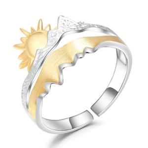 GEM DEL BALLET 925 chapado en oro anillo de la venda Sun boda original anillo abierto ajustable para los hombres de compromiso de joyería fina