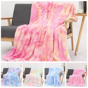 Tie-dye Flannel Blankets Warm Sherpa Blanket Kids Adults Square Quilt Plush Double Thickening Winter Couch Blankets CCA12536 5pcs