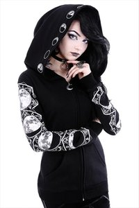 Casual Hooded TopGothic Hoodies Women Casual Tracksuits Sleeve Hooded Sweatshirts Jumper Clothes Black Print Zipper Drop Shipping