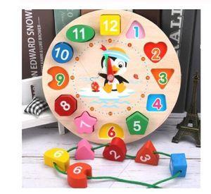Montessori Cartoon Animal Educational Wooden Beaded Geometry Digital Clock Puzzles Gadgets Matching Clock Toy For Children Intelligence toys