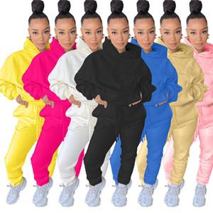 Women Fall Winter Sweatsuit Two Piece Set Long Sleeve Hoodies+Pants Solid Color Sports Suit Hooded Sportswear Fashion Tracksuit 3925