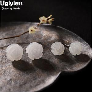 Uglyless% 100 Doğal Jade Rose Küpe Women 925 Gümüş MİNİ Çiçekler saplama Küpe Hetian Jade Taşlar Brincos için