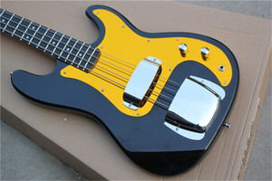Factory Custom Black Electric Bass Guitar with 4 Strings,Gold Pickguard,Rosewood Fingerboard,Can be Customized