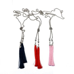 ZWPON Knot Long Chain Tassel Lariat Necklace for Women Blue Pink Fringe Necklace Jewelry Wholesale
