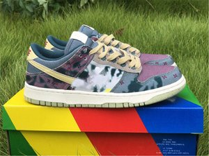 2020 Release auténtico SB Dunk Low Comunidad Jardín SP limón Lavar Medicom Toy SER @ RBRICK Stussy cereza hombres multicolor de los zapatos corrientes de las zapatillas de deporte